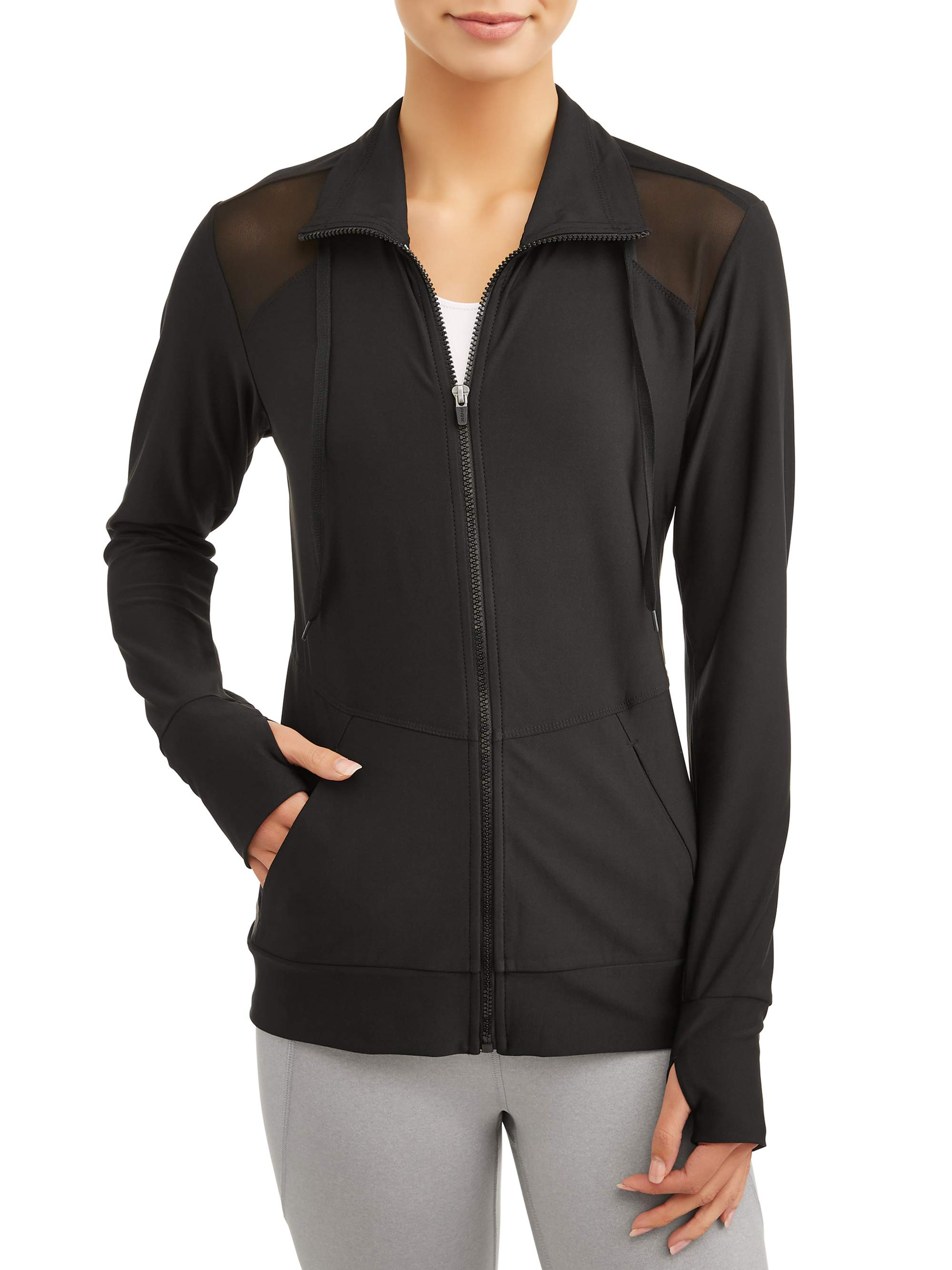 Women's Active Mock Neck Zip with Mesh