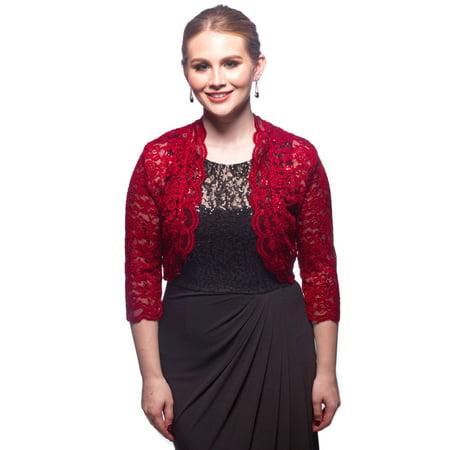 SleekTrends Women Elbow Sleeve Sequin Lace Bolero Jacket - Dressy Shrug (Sequin Bolero)