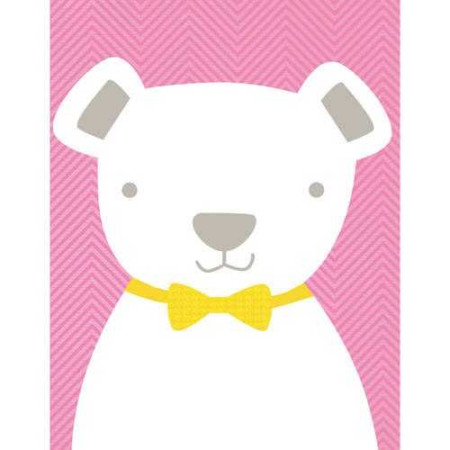 Oopsy Daisy - Bow Tie Teddy - Light Pink Canvas Wall Art 14x18, Vicky Barone