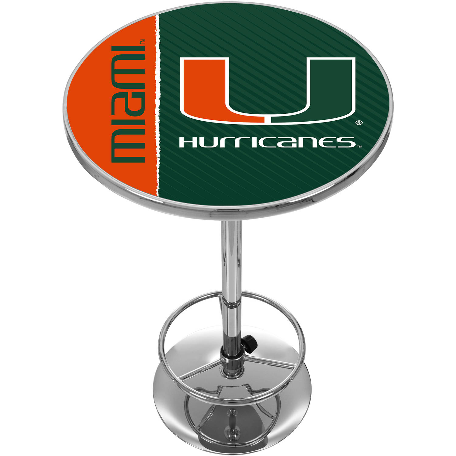 University of Miami Chrome Pub Table, Text