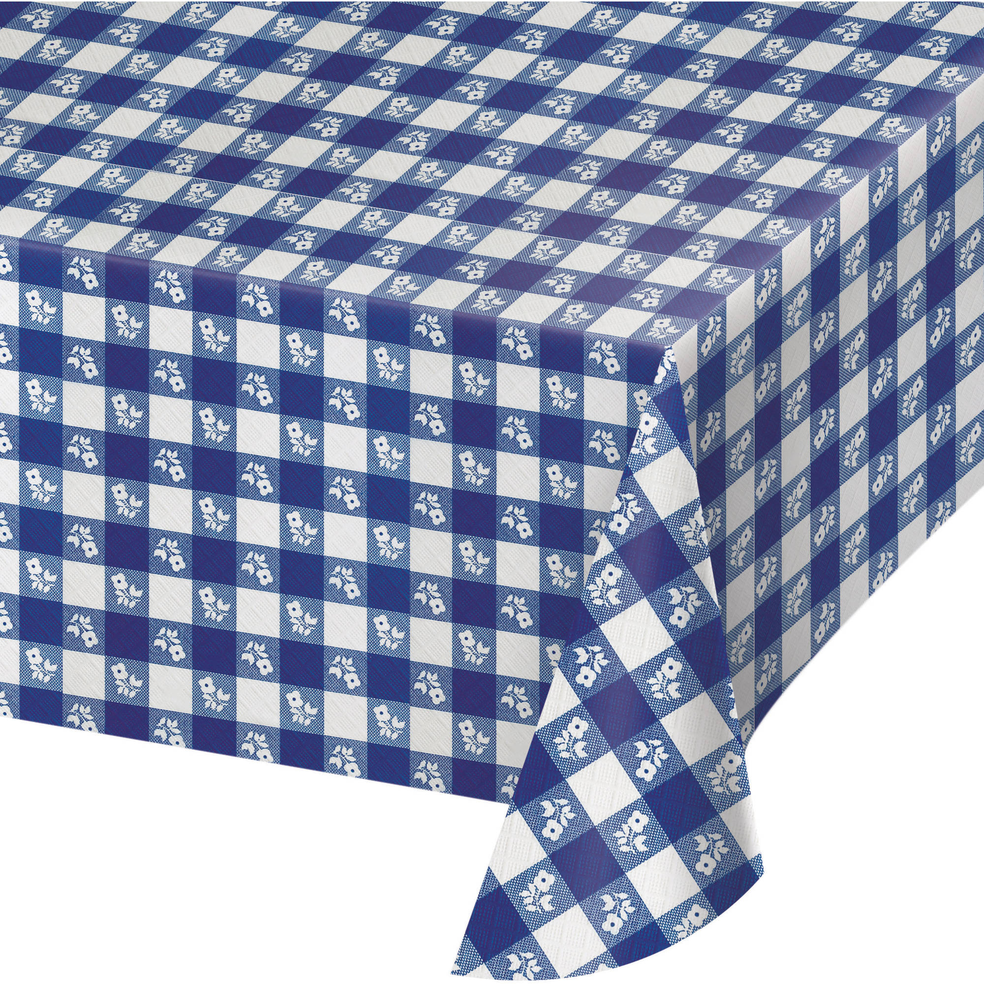 High Quality Blue Gingham Plastic Tablecloth