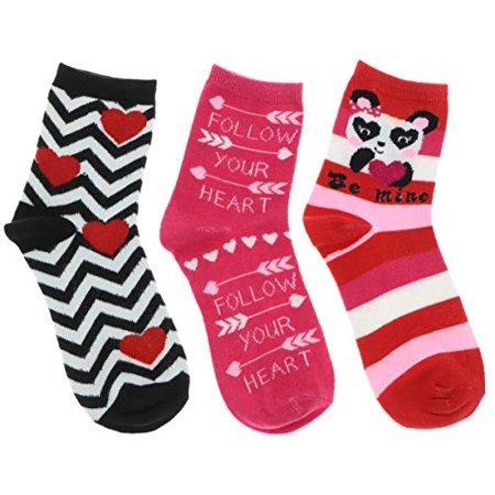Be Mine Women's Valentine's Day Crew Socks (Panda Bear, Follow Your Heart, Hipster (Valentine Stripe)