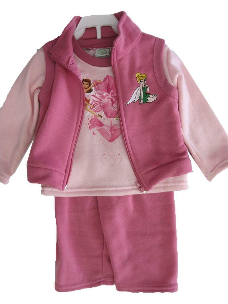 Baby Girls Pink Tinker Bell Printed Vest 3 Pc Pants Set 12-24M