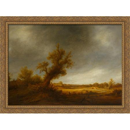 Landscape with an Old Oak 38x28 Large Gold Ornate Wood Framed Canvas Art by Adriaen van Ostade