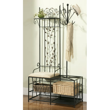 Black Metal Entryway 12 Hook Coat Hat Rack Hall Tree