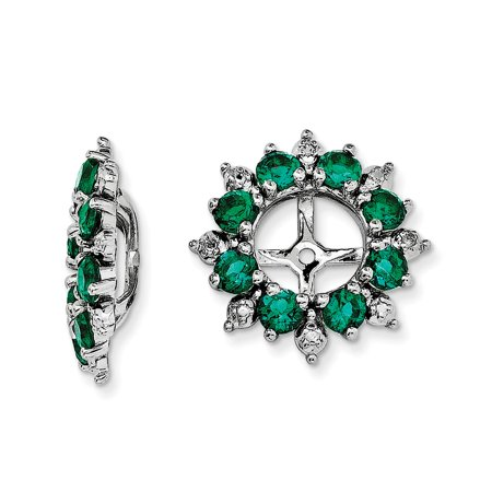 Roy Rose Jewelry Sterling Silver Diamond and May Birthstone Created Emerald Earring Jacket