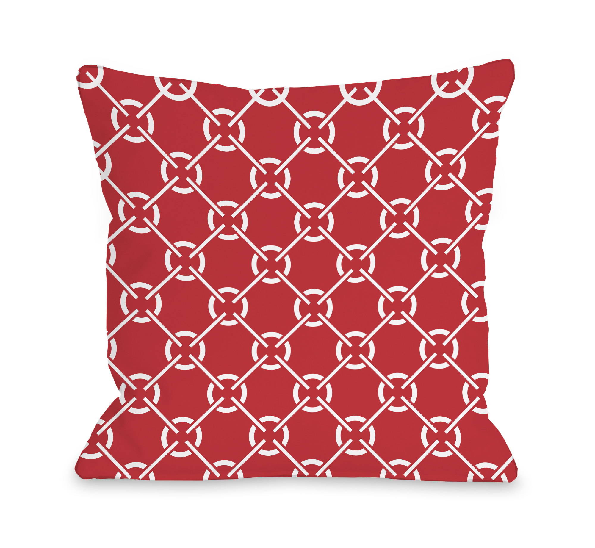 Cecile's Circles - Poppy Red 18x18 Pillow by OBC