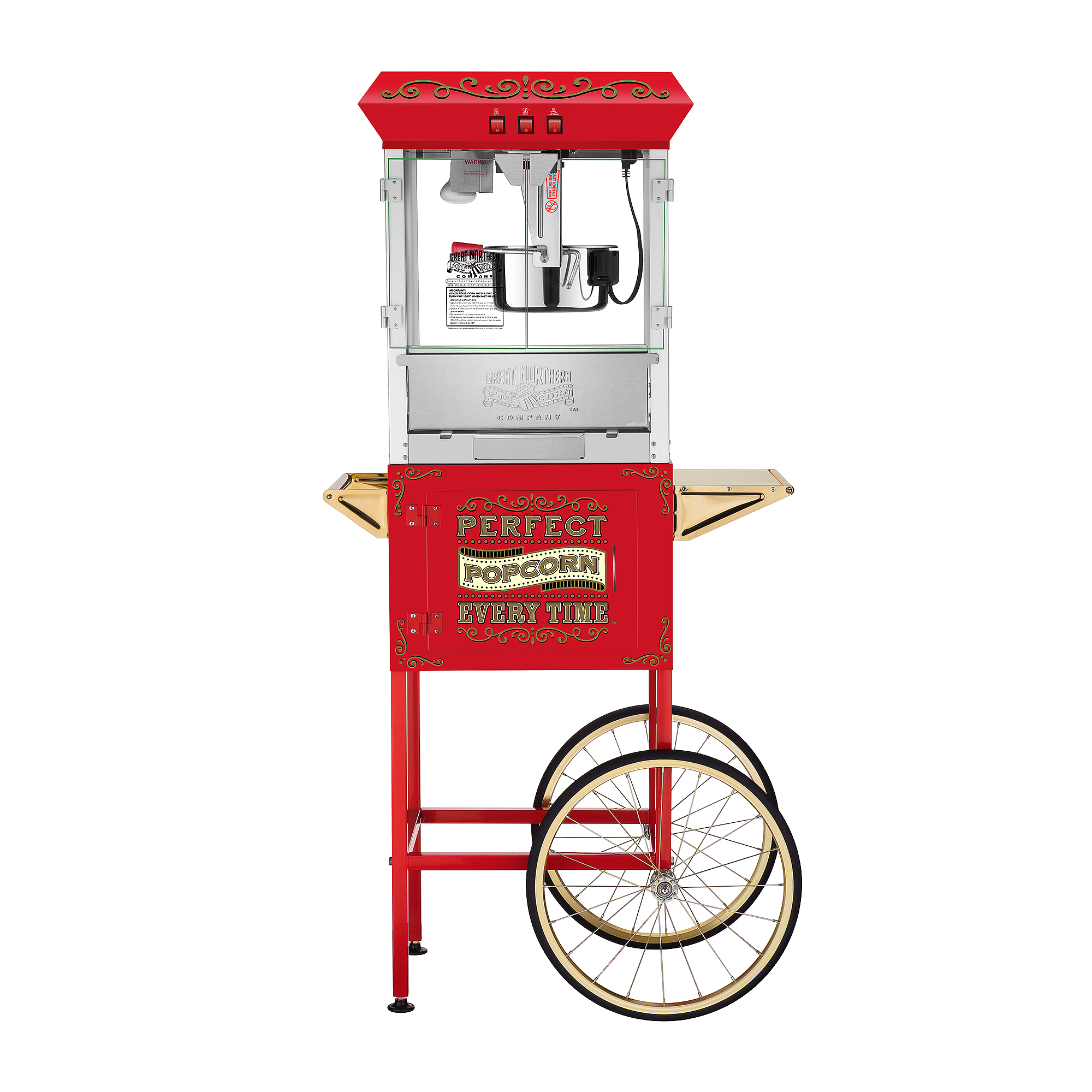 Great Northern Popcorn Great Northern 10 oz. Perfect Popper Popcorn Machine with Cart - Red