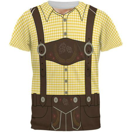 Oktoberfest Lederhosen Costume German Brown Suspenders All Over Mens T Shirt