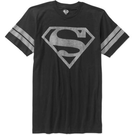 Men's Superman Logo Short Sleeve Distressed Stripe Sleeve -