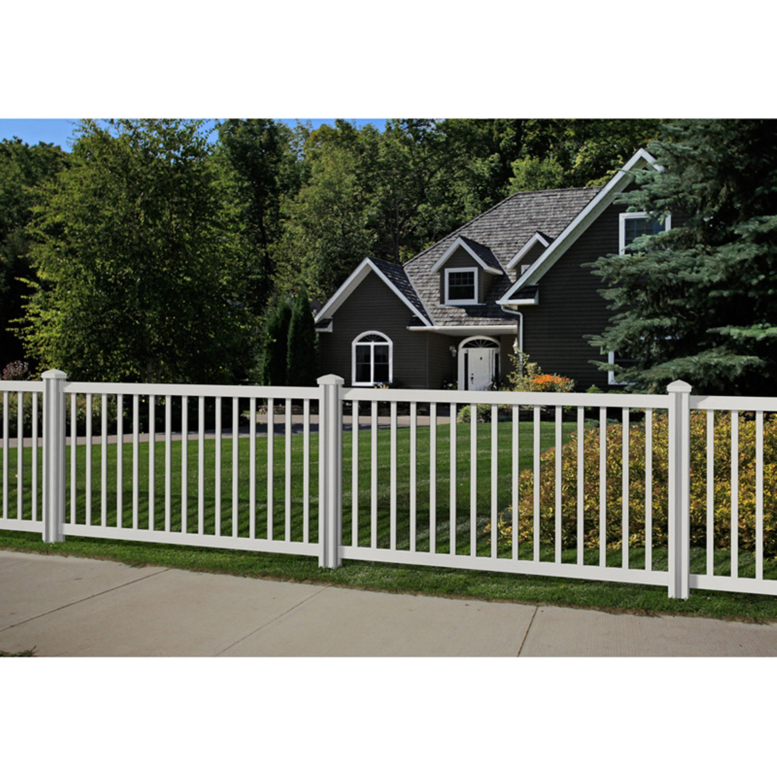 Wam Bam Premium Yard and Pool Vinyl Fence Panel with Post and Cap - 4 ft.