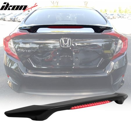 Compatible with 16-18 Civic X 4Dr Sedan OE Factory Style Trunk Spoiler LED Brake Light - ABS