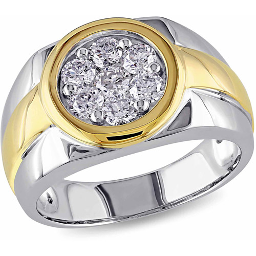 Miabella 1 Carat T.W. Diamond 10kt Two-Tone Gold Halo Men's Ring by Miabella