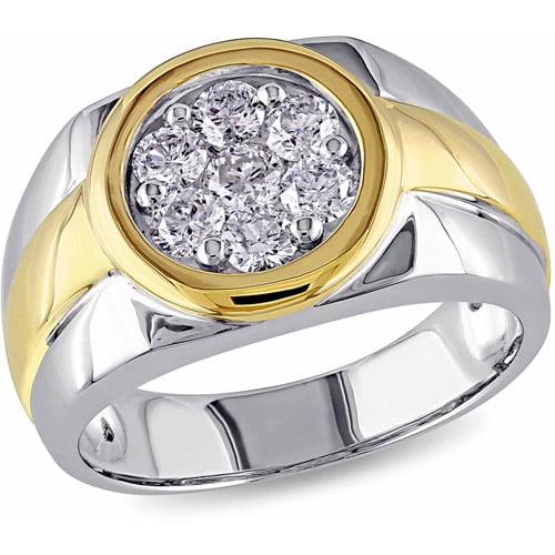 Miabella 1 Carat T.W. Diamond 10kt Two-Tone Gold Halo Men's Ring