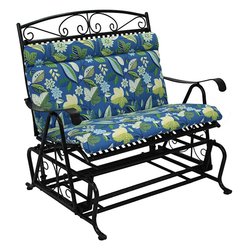 Blazing Needles Outdoor Loveseat Glider Hinged Seat & Back Cushion 40 x 43 in. by Blazing Needles LP