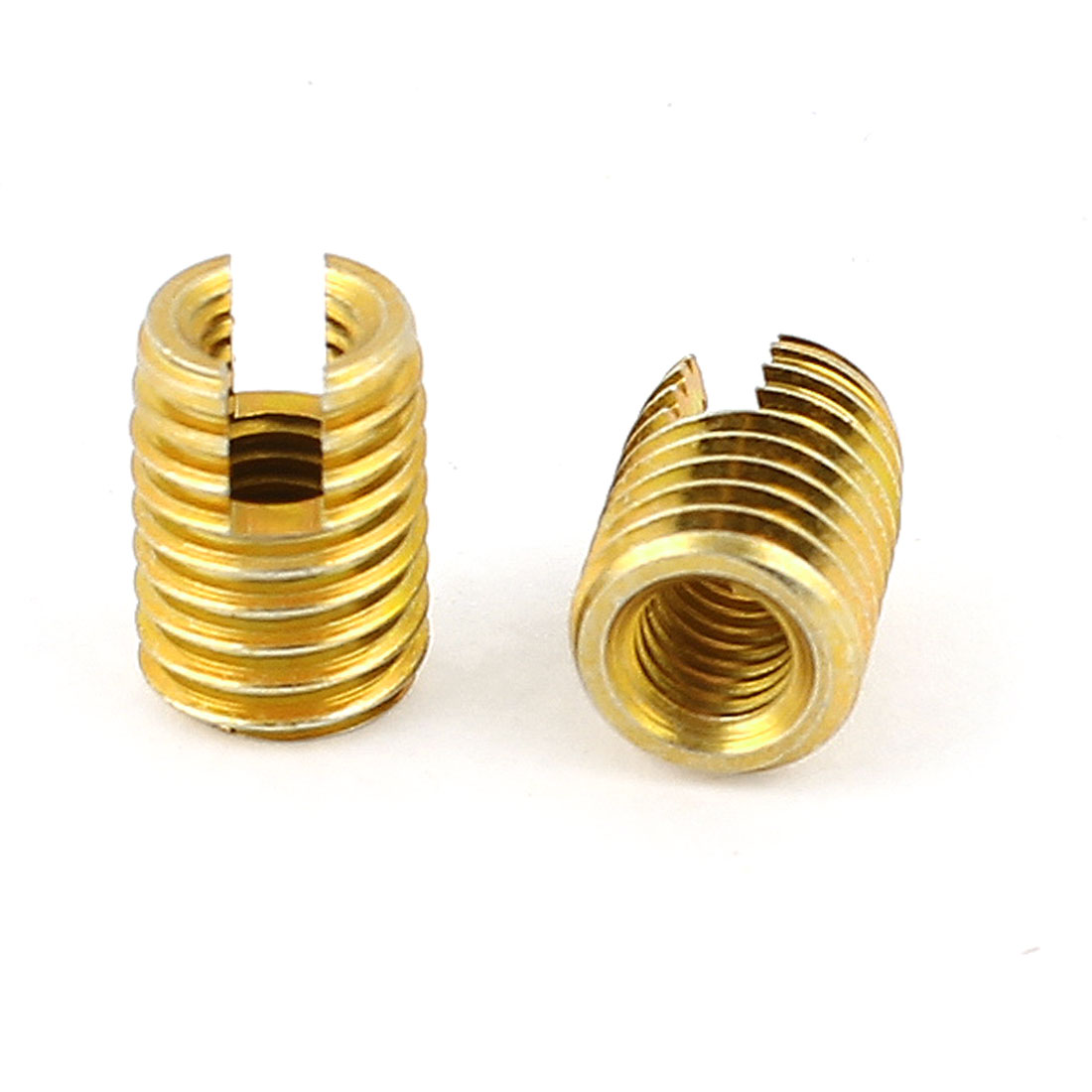 Unique Bargains Replacement Brass Tone 14mmx10mmx5mm Self Tapping Threaded Inserts 2Pcs