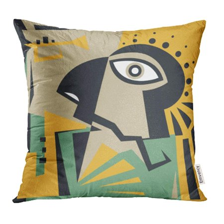 USART Green Cubism Abstract Jazz Character Music Contemporary Red Face African Modern Band Pillow Case Pillow Cover 18x18 inch Throw Pillow Covers