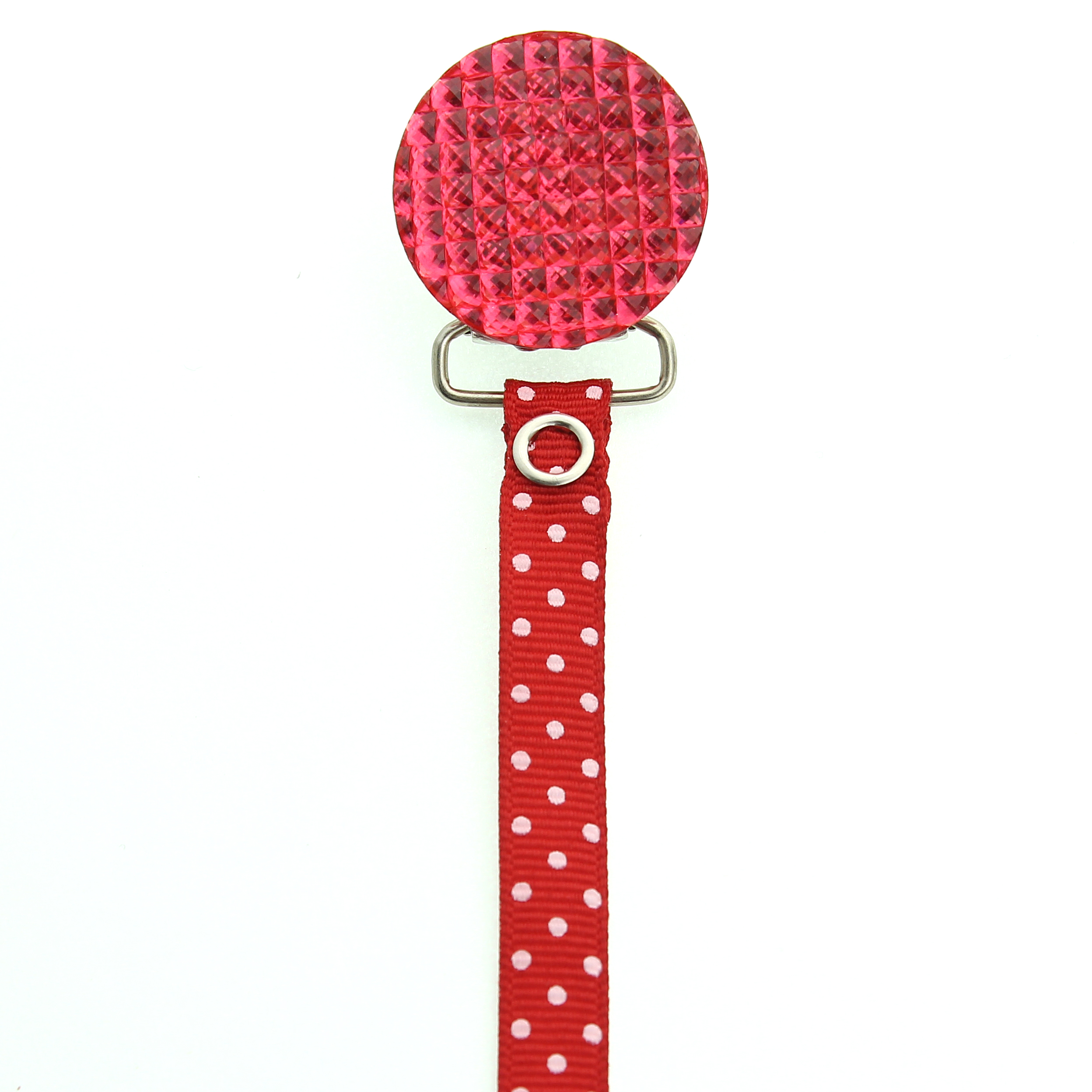 Polka Dot Ribbon Quilted Crystal Pacifier Clip