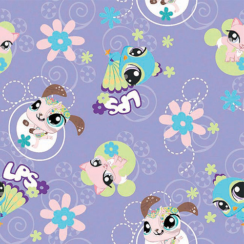 "Creative Cuts Cotton 44"" wide, 2 yard cut fabric - Littlest Pet Shop, Purple"