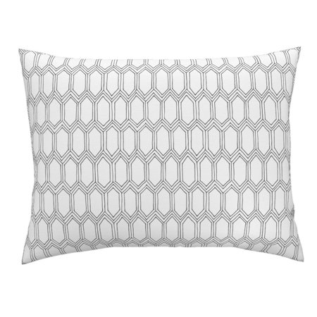 White Tile Drawn Black Geometric Pillow Sham by Roostery