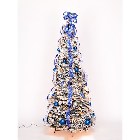 4' Snow Frosted Winter Style Pull-Up Tree by Holiday ...