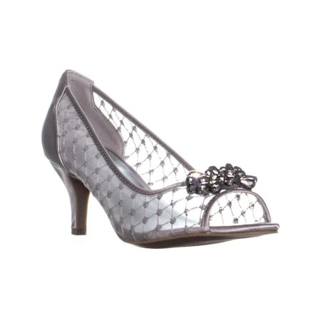 Womens KS35 Maralyn Jeweled Peep-Toe Heels, Silver Satin