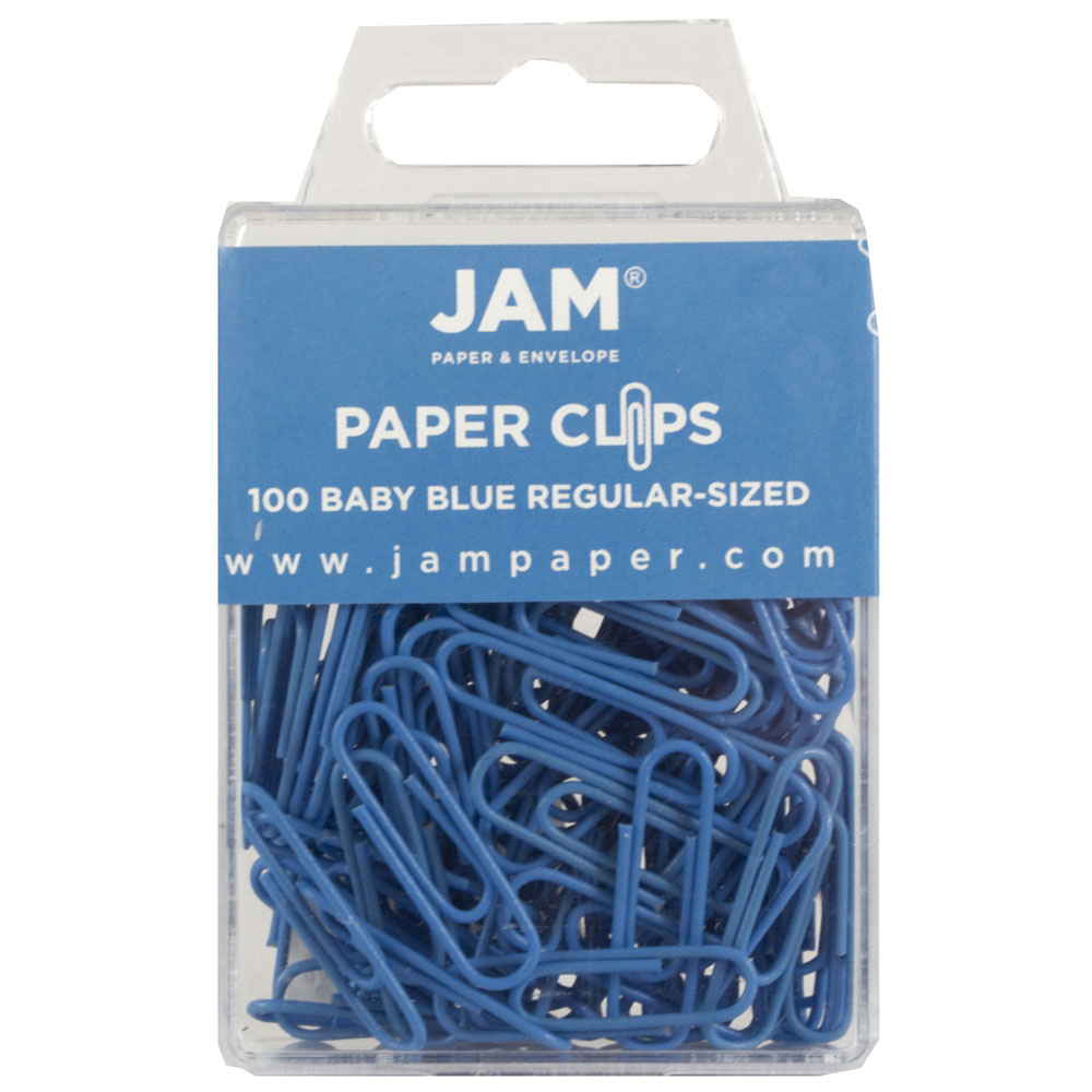 JAM Paper Colored Standard Paper Clips, Small, Baby Blue, 100/pack ...