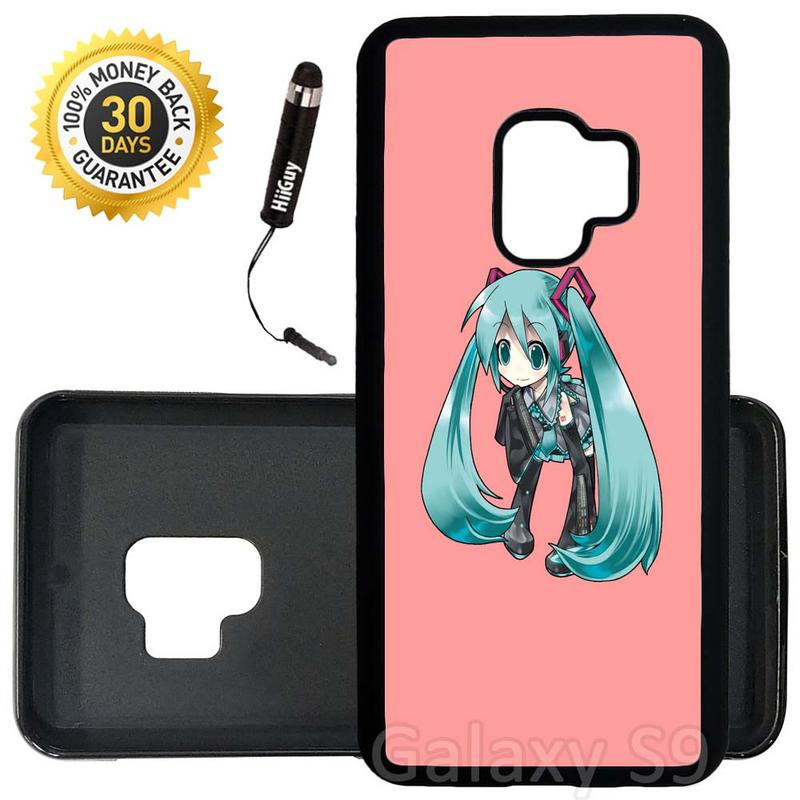 Custom Galaxy S9 Case (Cool Hatsune Miku Cute Kawaii) Edge-to-Edge Rubber Black Cover Ultra Slim | Lightweight | Includes Stylus Pen by Innosub