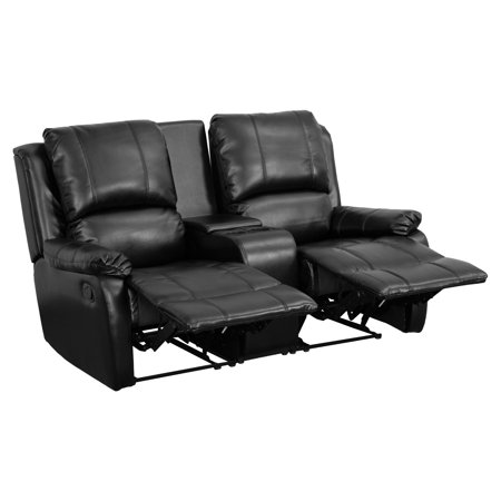 Flash Furniture Allure Series 2-Seat Reclining Pillow Back Leather Theater Seating Unit with Cup -