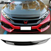 Compatible with 16-18 Honda Civic 10th Gen Glossy Black Front Bonnet Lip Molding Trim Bar