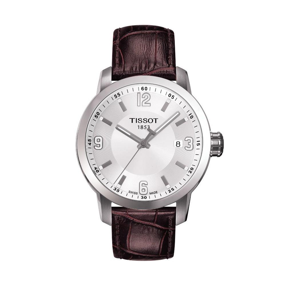 Tissot PRC 200 White Dial Brown Leather Quartz Men's Watc...