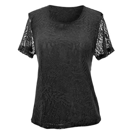 Paisley Pattern Lace Short Sleeve Top