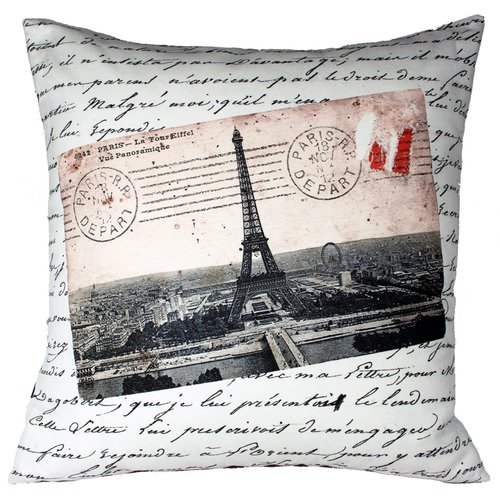 Uptown Artworks French Vintage Eiffel Tower Throw Pillow