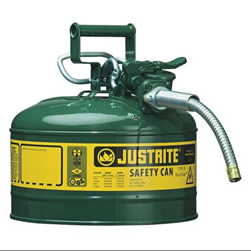 JUSTRITE 7225420 Type II Safety Can, Green, 12 In. H