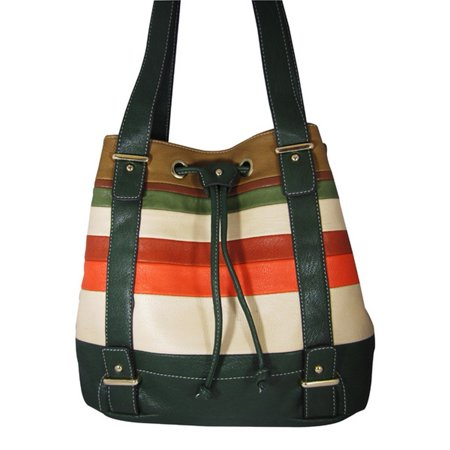 Aryana Junior Womens Green Multi Stripe Double Shoulder Strap Chic Handbag Purse