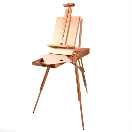 GHP Beech Wood Folding French Easel Sketch Box with Telescoping Legs Tripod (French Tri Fold)