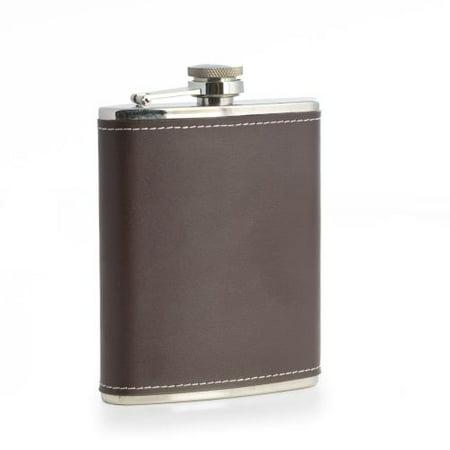 Bey Berk Stainless Steel Brown Leather Flask, 6 (Bey Berk Flask)