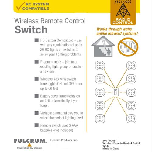 Fulcrum 30019-308 Light It! 30019-308 Wireless Remote-controlled Switch