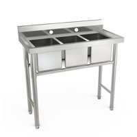"Ktaxon Heavy Duty 39"" 3 Compartment Commercial Stainless Steel Sink"