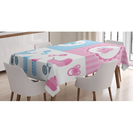 Gender Reveal Decorations Tablecloth, Elephants Girl Boy Newborn Composition Baby Shower Icons, Rectangular Table Cover for Dining Room Kitchen, 60 X 90 Inches, Light Pink and Blue, by Ambesonne](Pink And Blue Table Decorations)