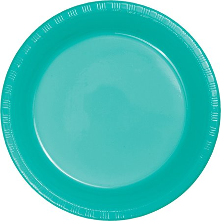 Club Pack of 240 Teal Round Disposable Plastic Party Banquet Luncheon Plates 7