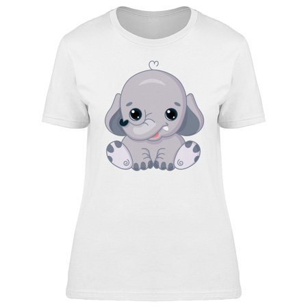 Cute Kawaii Elephant Cartoon Tee Women's -Image by Shutterstock (Cartoon Elephant)