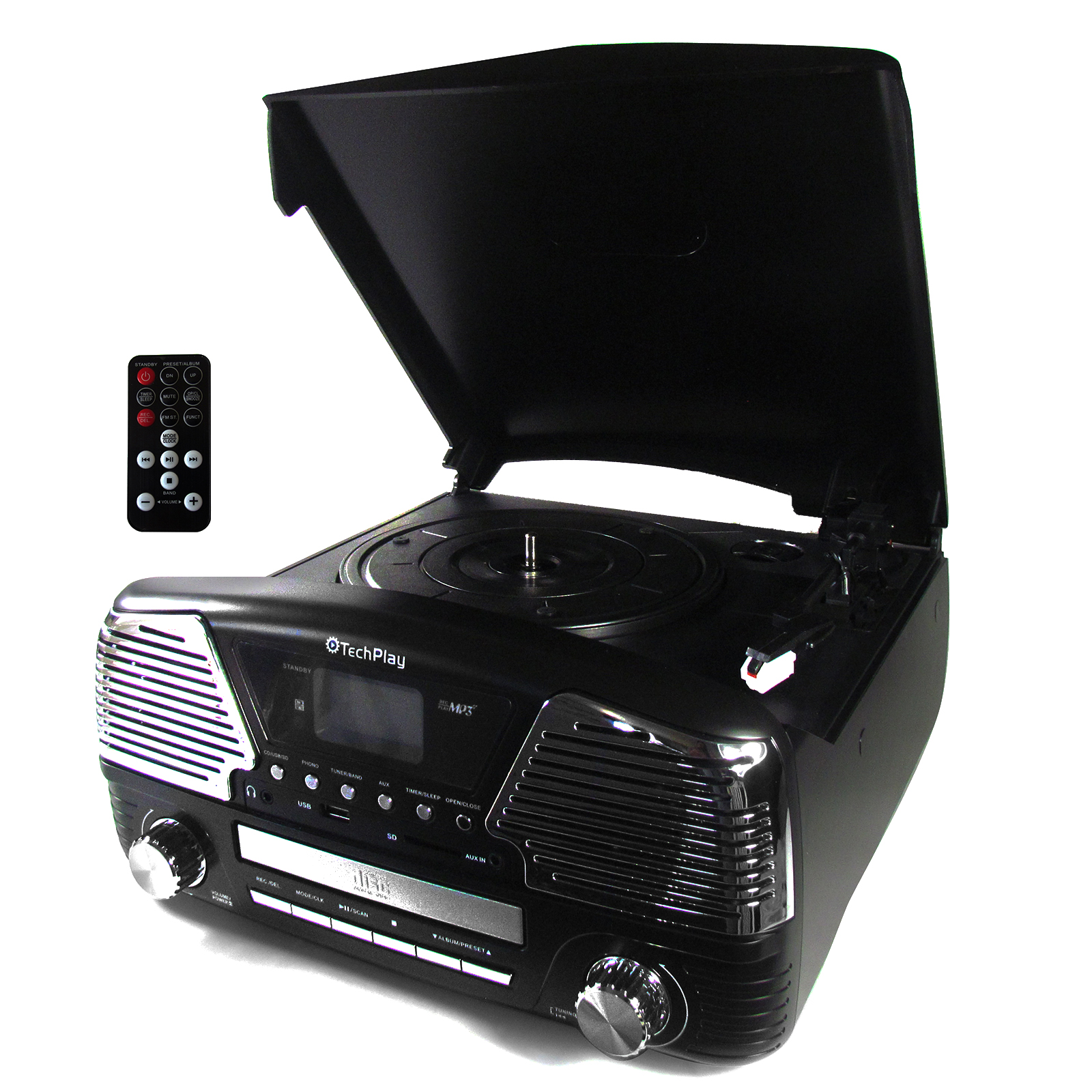 TechPlay 3 Speed BT Turntable, Programmable MP3 CD Player, USB/SD, Radio & Remote Control in Black
