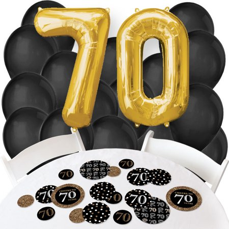 Adult 70th Birthday - Gold - Confetti and Balloon Birthday Party Decorations - Combo Kit - 70th Decorations