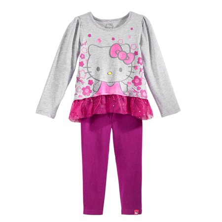 Hello Kitty Birthday Outfit (Hello Kitty Todder Little Girls 2 PC Purple Leggings Gray Flower Shirt)