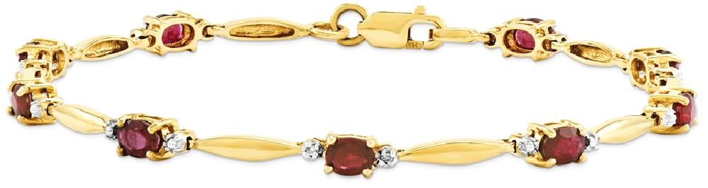 IceCarats 14k Yellow Gold Diamond Composite Red Ruby Oval Bracelet 7 Inch Gemstone Fine Jewelry Gift Set For Women Heart by IceCarats