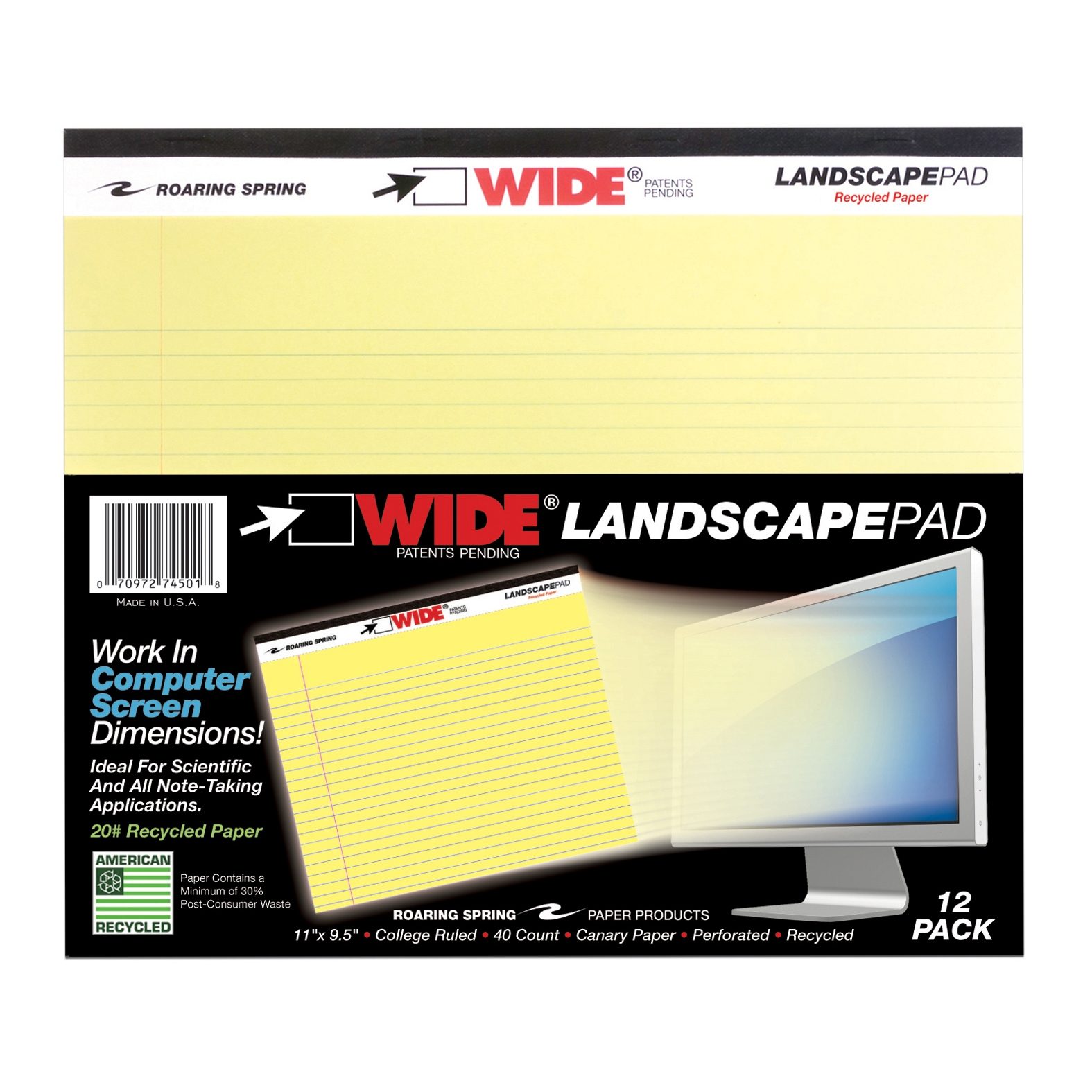 "LANDSCAPE PAD CANARY 11""x9.5"" COLLEGE RULED WITH MARGIN"