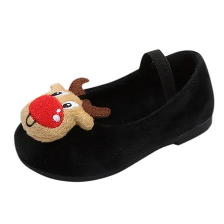 DZT1968 Kids Baby Infant Toddler Girls Christmas Deer XMAS Princess Warm Shoes Sneakers