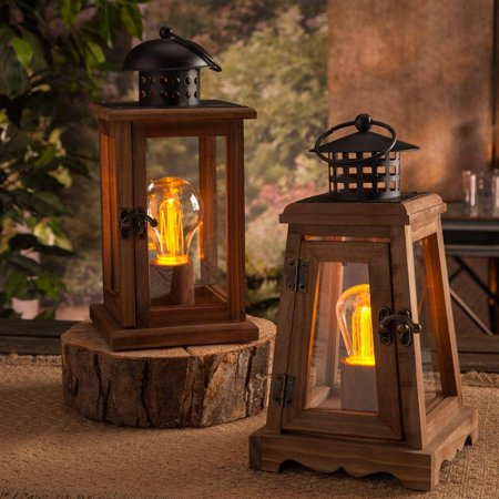 """Gerson 93388 - 5"""" x 10.6"""" Etched LED Plastic A19  and  S14 Battery Operated Wood Lantern with Timer (Set of 2)"""