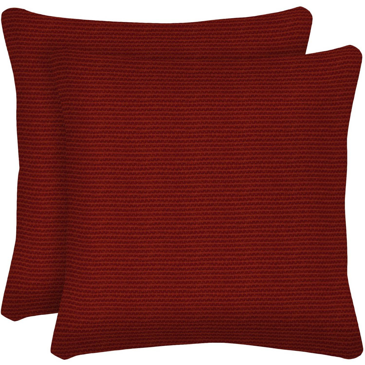 "Arden Outdoors 16"" Square Toss Pillow, Set of 2, Red Rib Woven"